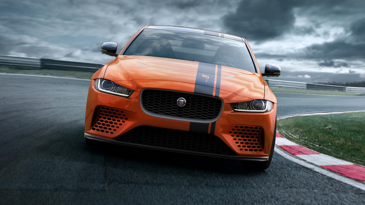 Jaguar Special Vehicles Operations XE Project 8 on a race track.