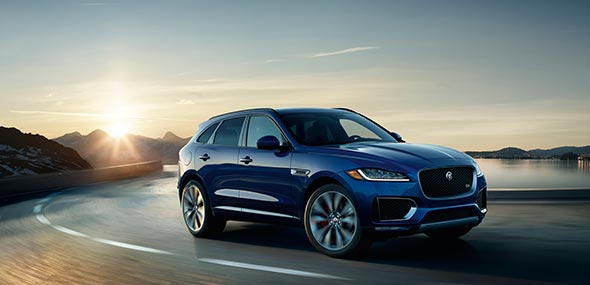 Blue Jaguar F-PACE with Adaptive Dynamics
