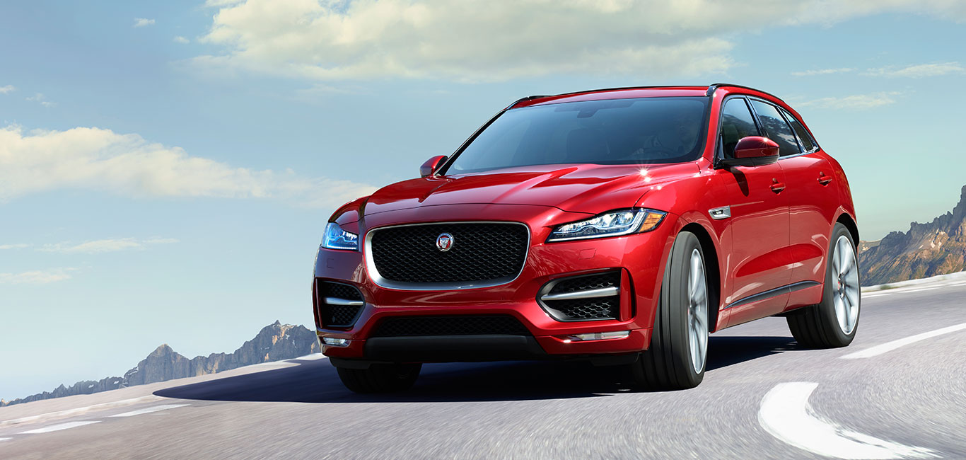 Red Jaguar F-PACE Front View