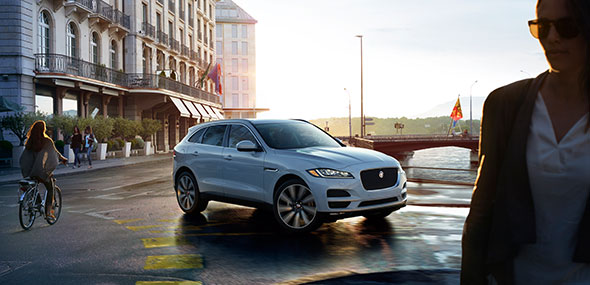 White Jaguar F-PACE with Safety Features