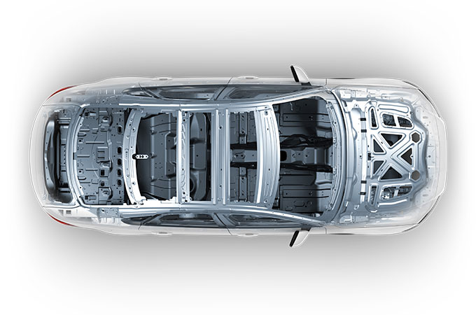 Transparent View Of Jaguar XF Highlighting The Aluminium Frame.