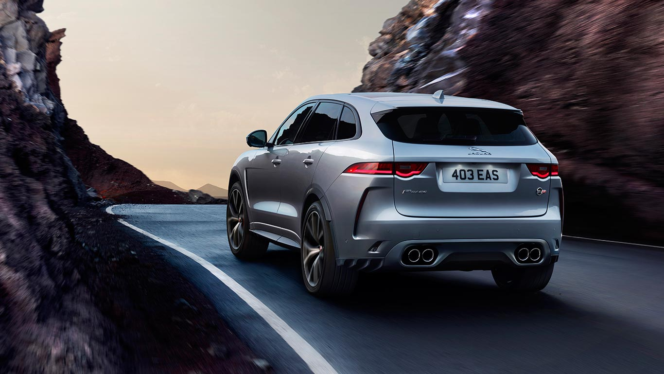 Silver Jaguar F-PACE SVR on Mountain Road