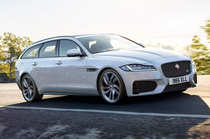 Jaguar XF Sportbrake Driving Along Road.
