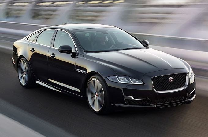 Jaguar XJ Standard Wheelbase Driving On Road.