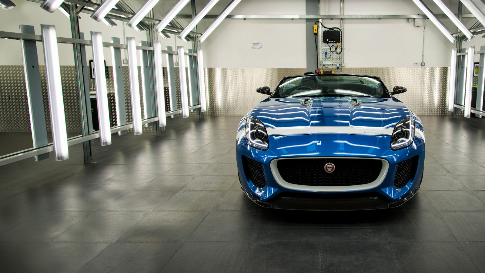 Jaguar Project 7 in blue inside a bay at Special Vehicle Operations Centre.