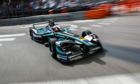 Jaguar Formula E driven on race track