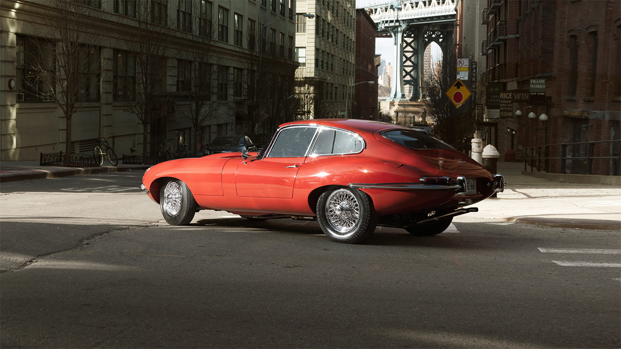 A parked E-type Series 1 in New York city.