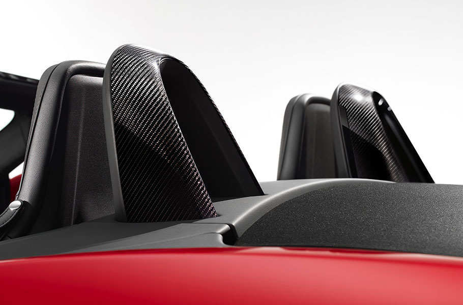Jaguar F-TYPE Convertible Sports Car features optional silver weave carbon fibre roll over bars