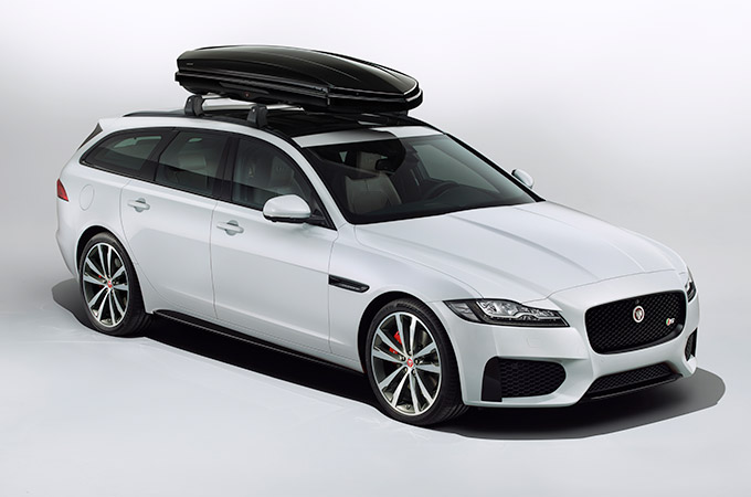 Jaguar XF Sportbrake with Roofbox fitted.