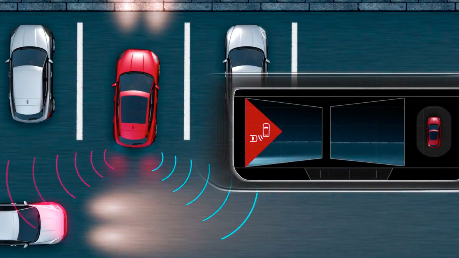 A diagram of Jaguar E-Pace Rear Traffic Monitor detecting hazards when reversing out of a parking bay.