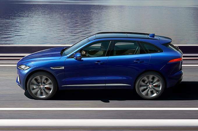 Jaguar F-Pace Blue Exterior Water.