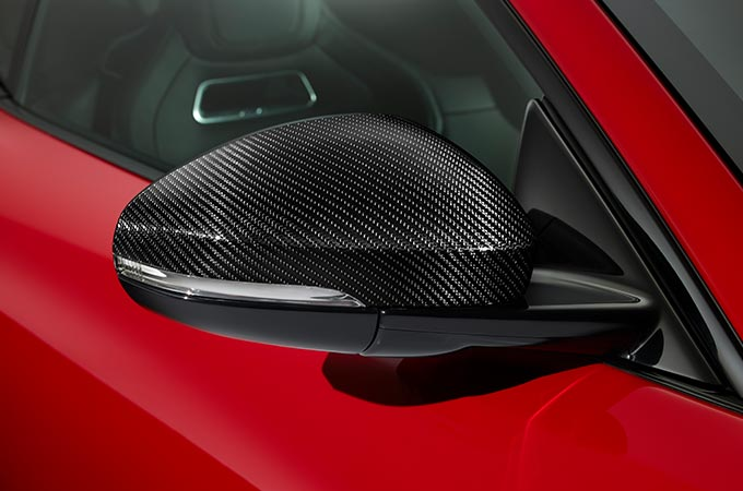 Jaguar F-Type Carbon Fibre side mirror cover.