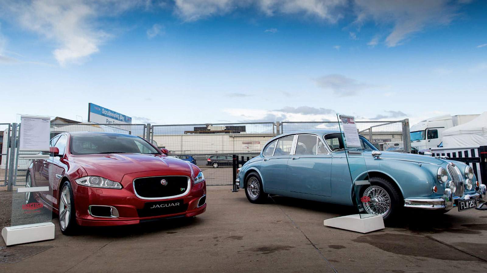 two Jaguar's parked at the heritage challenge.