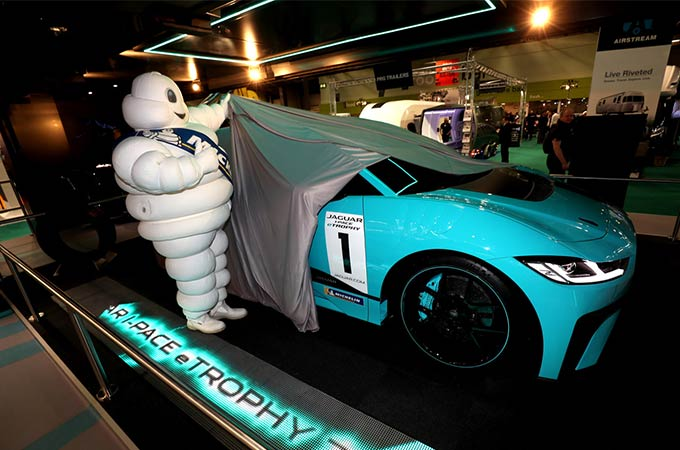 Michelin Man unveiling blue I-PACE.