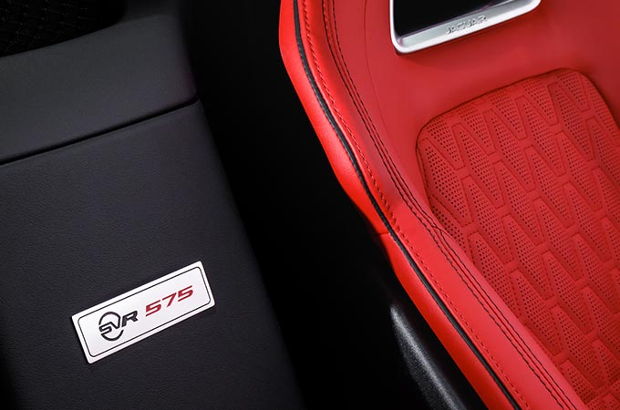 close up of red jaguar interior.