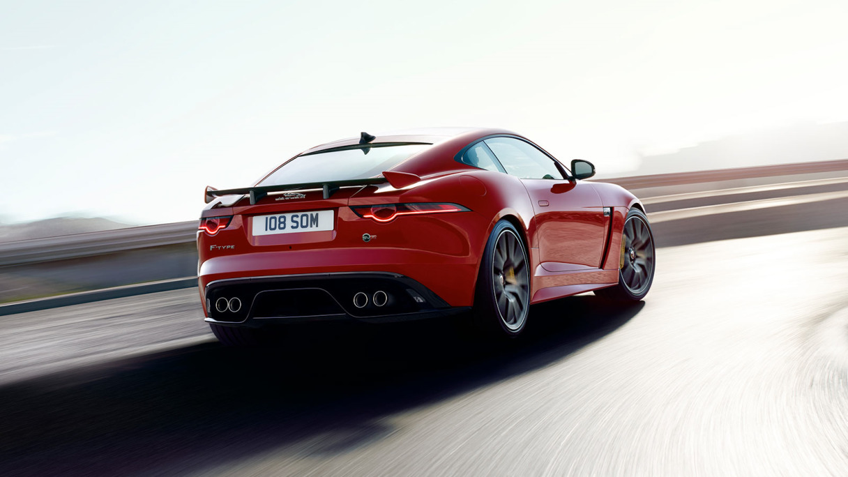 Rear of red Jaguar F-TYPE Coupé.