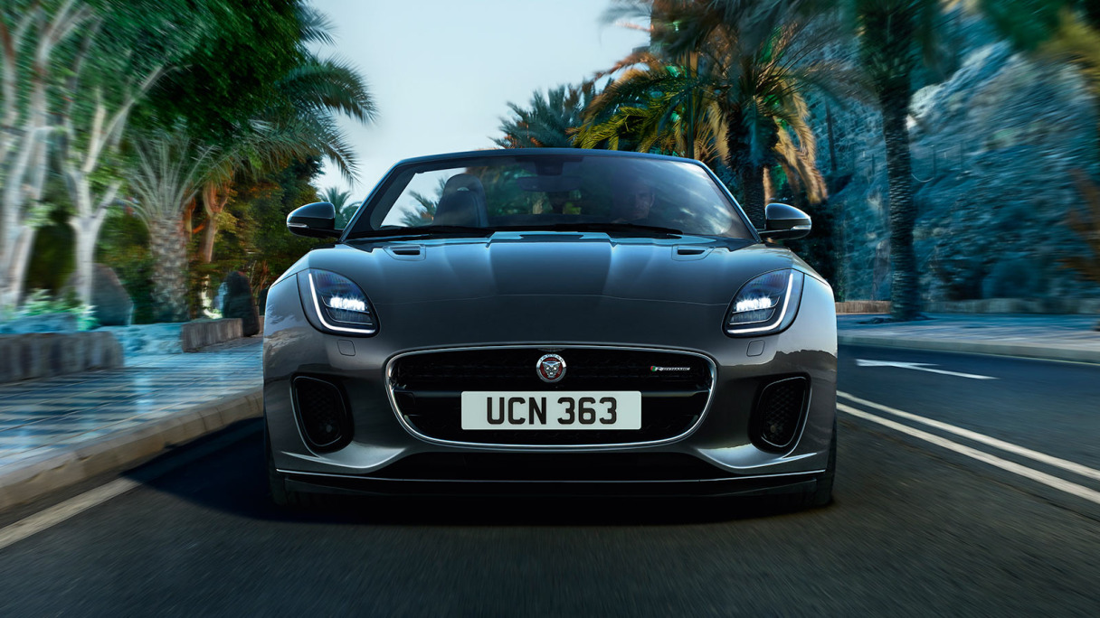 Front of black Jaguar F-TYPE Convertible.