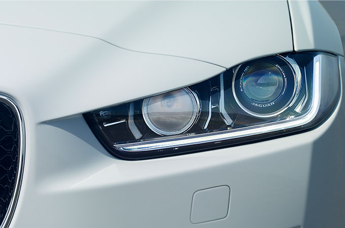 Front Shot Of Jaguar Headlights.