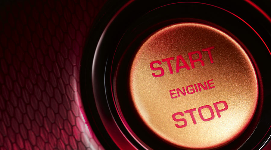 Close-up of the START/STOP engine button.