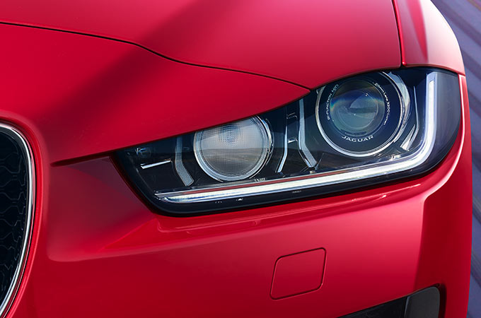 Close-up of Jaguar's Signature 'J' Blade LED Daytime Running Lights.