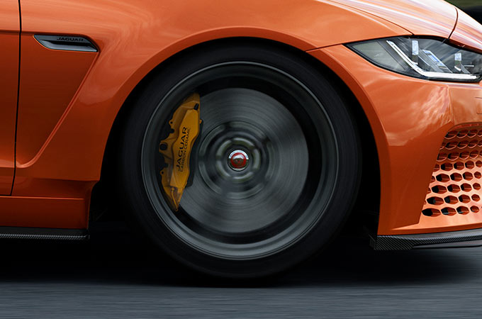 Jaguar XE SV Project 8 spinning wheel on a race track