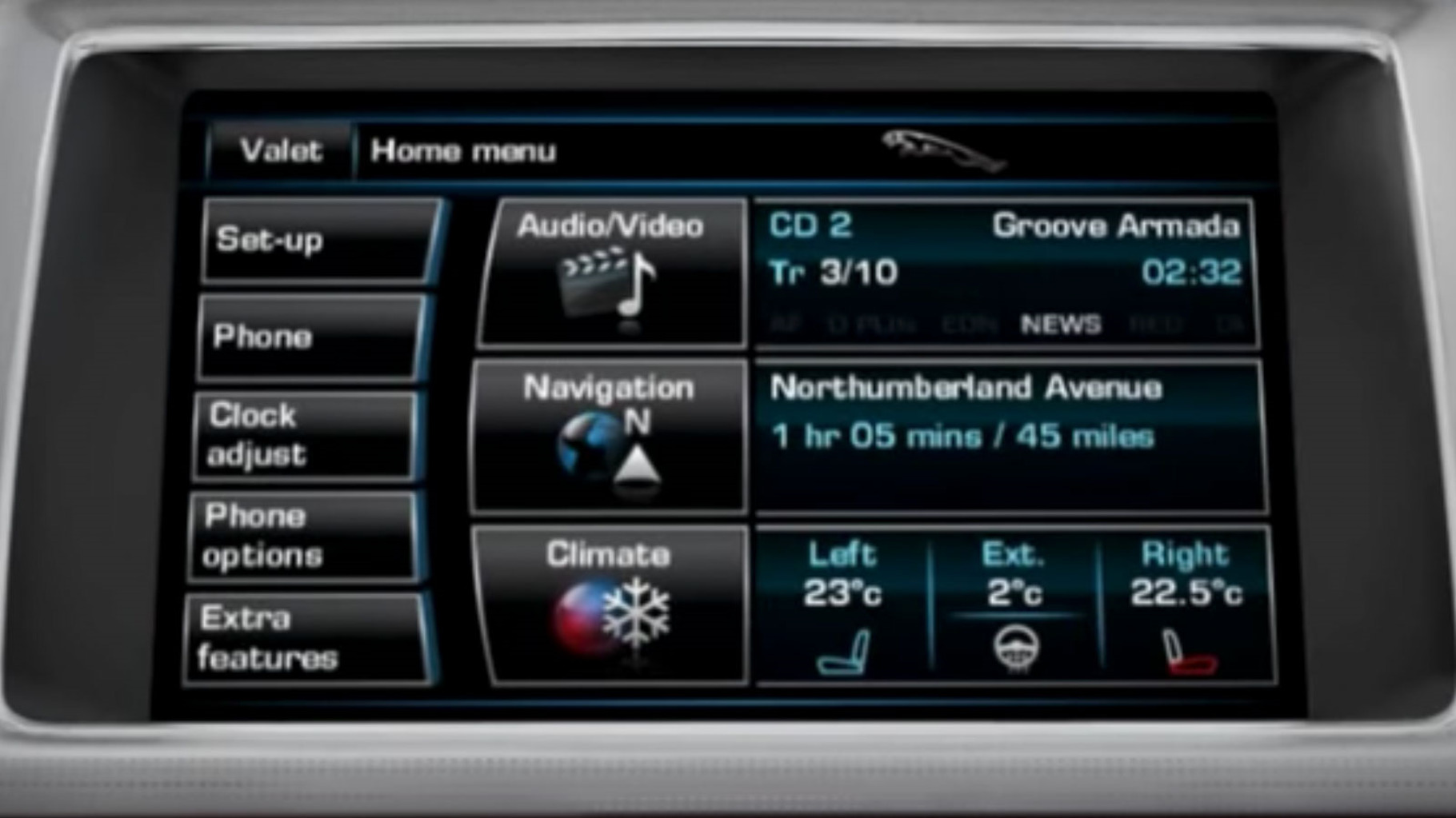 Jaguar XF 2012 Touchscreen Display