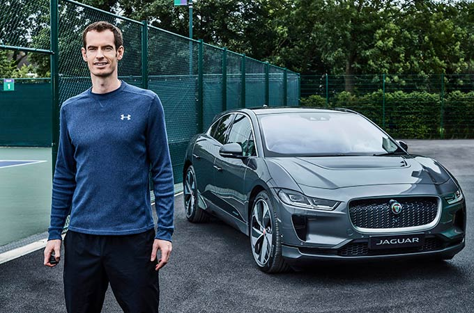 Andy Murray with the I-Pace