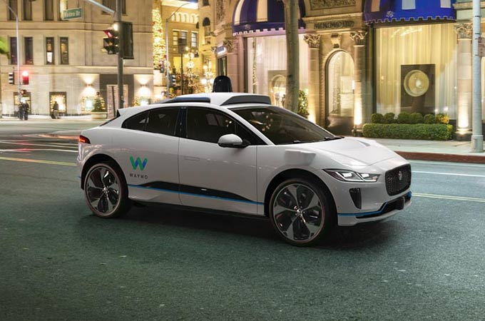 Waymo self-driving I-PACE in White.