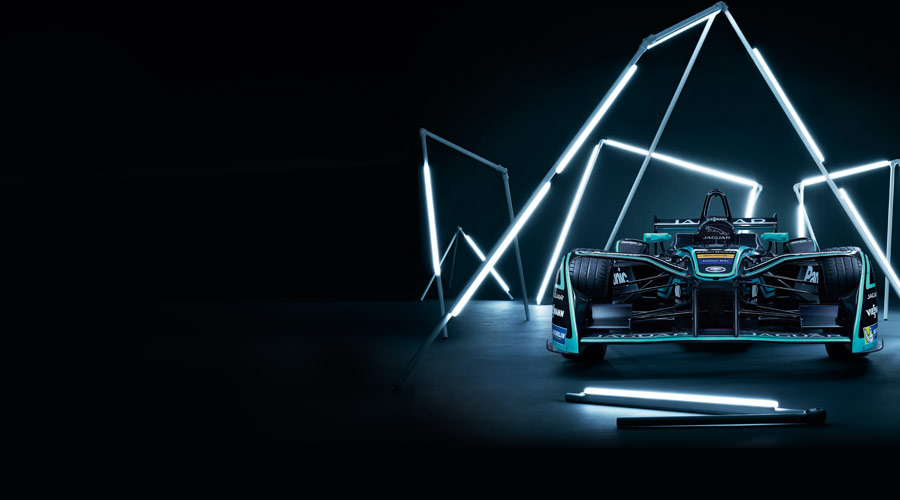Jaguar Racing's I-TYPE 2, surrounded by lighting rods.