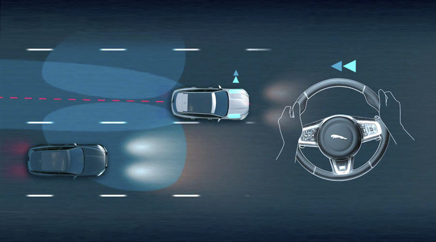 Diagram showing the lane departure warning system in operation.
