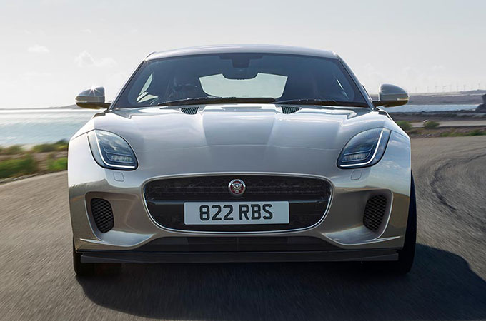 Front view of a silver Jaguar F-Type.