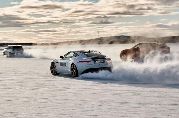 Ice Academy - Jaguar cars driving on snow.