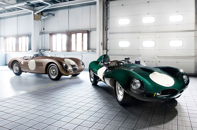 Classic Jaguar racing vehicles.