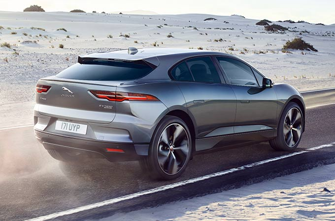 Jaguar I-PACE driving on a desert road