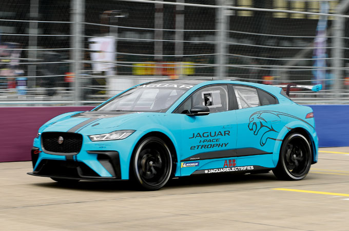 Jaguar I-PACE eTrophy vehicle racing around a circuit
