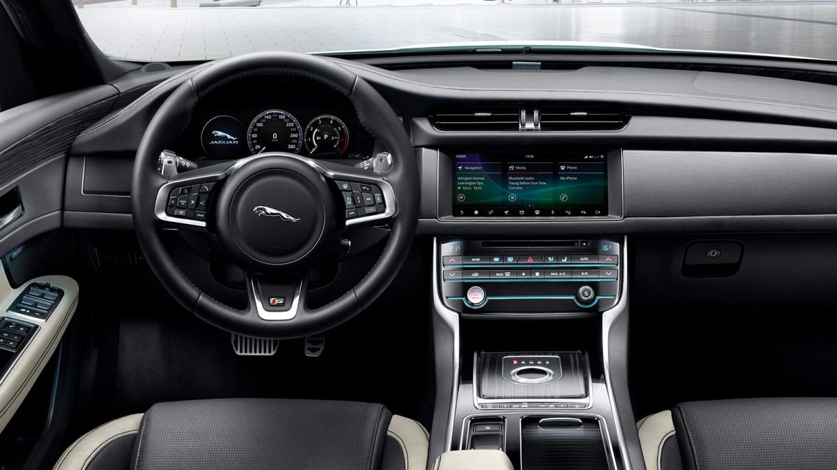Jaguar XF Interior Dashboard View.