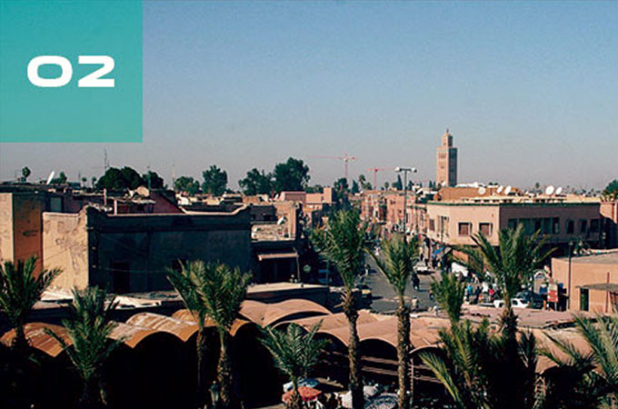 Rooftop view of Marrakesh, Morocco.