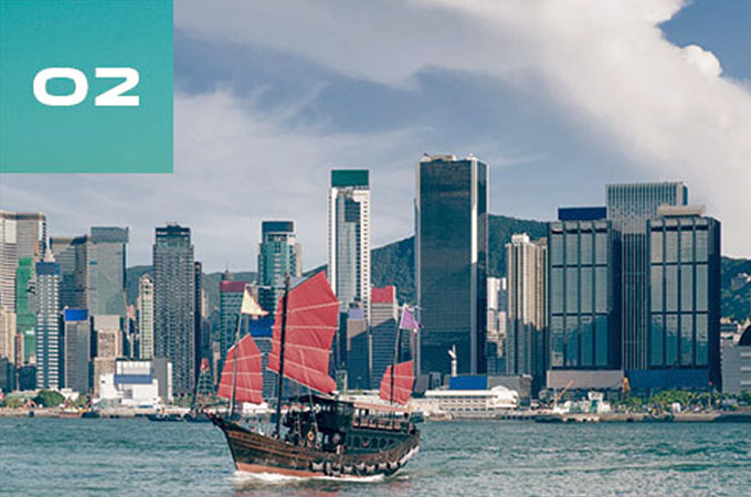 A boat travels down the river, with the Hong Kong city skyline behind it.