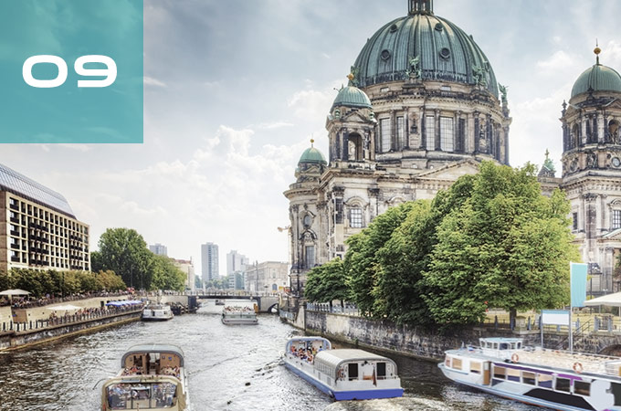 The Berlin Cathedral Church, located next to the River Spree.