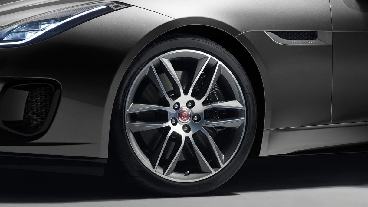 A closeup of a Jaguar F-TYPE wheel.
