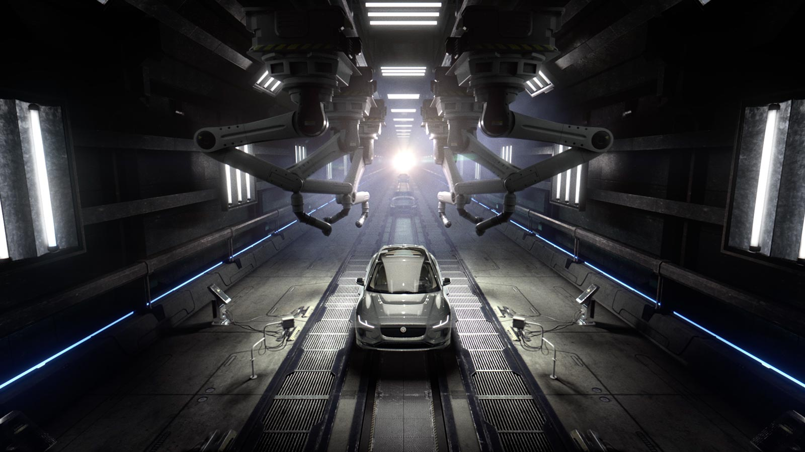 Jaguar I-PACE on the production line with robots.