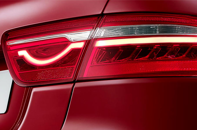 Jaguar XE S' iconic tail lights.