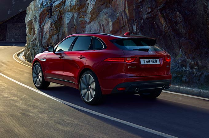 Rear view of red Jaguar F-PACE.
