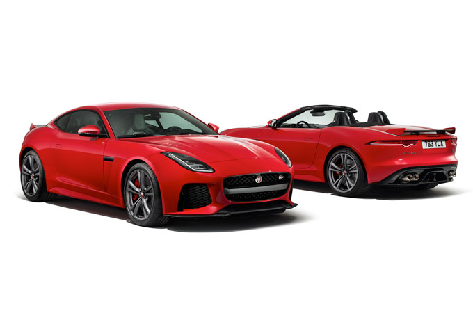 The front of the Jaguar F-type SVR Coupe and the Rear of the SVR Convertible.