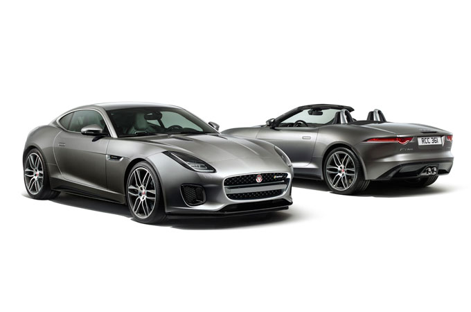 The front of the F-Type R-Dynamic Coupe and the rear of the R-Dynamic Convertible.