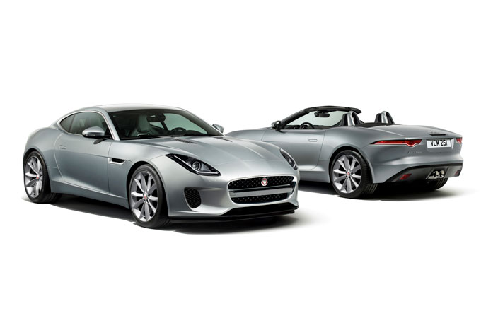 The front of the Jaguar F-Type Coupe and the rear of the f-type convertible.