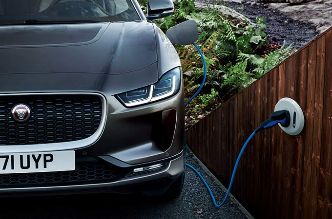 Jaguar I-PACE charging at a home charging point.