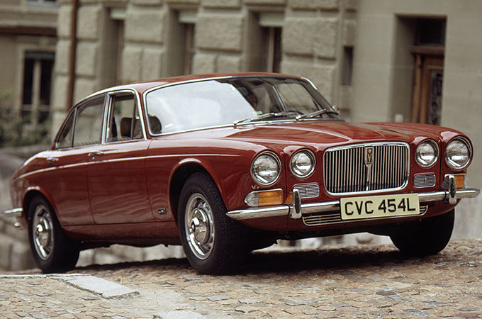 A Red 1972 Jaguar XJ12.