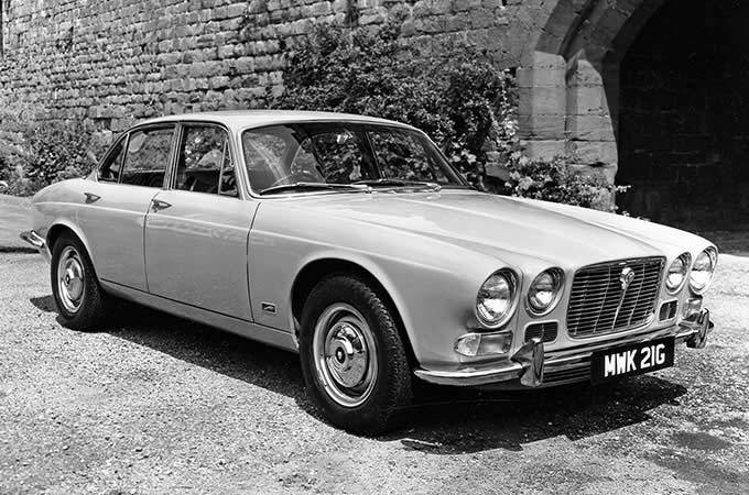 Black and White Photo Of A 1968 Jaguar XJ6 Series 1.