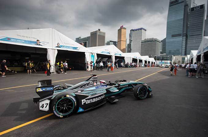 Jaguar I-TYPE roams the pits in Hong Kong